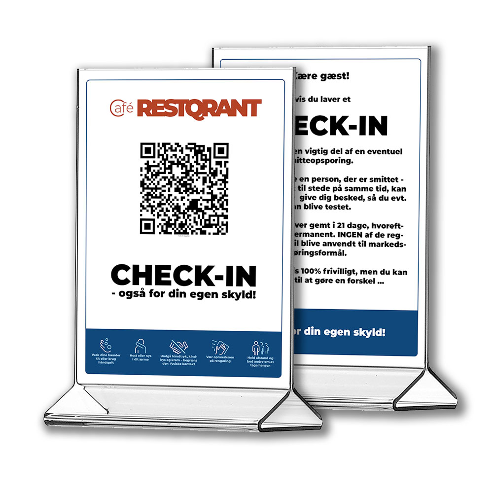 RestQR tablestands - smitteopsporing digital registrering